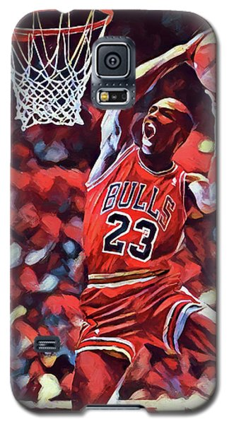 Galaxy S5 Case featuring the painting Michael Jordan Slam Dunk by Dan Sproul