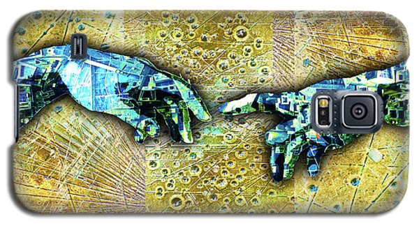 Galaxy S5 Case featuring the mixed media Michelangelo's Creation Of Man by Tony Rubino