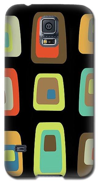 Mid Century Modern Oblongs On Black Galaxy S5 Case
