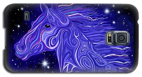 Galaxy S5 Case featuring the drawing Midnight Blue Mustang by Nick Gustafson