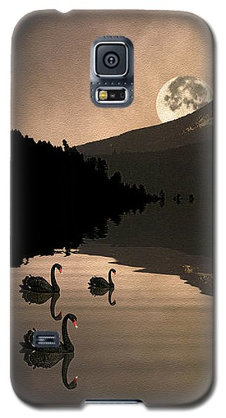 Galaxy S5 Case featuring the photograph Midnight Moods Swan Lake In The Moonlight by Diane Schuster
