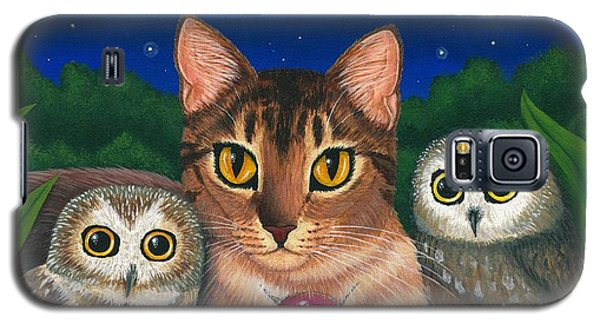 Midnight Watching - Abyssinian Cat Saw Whet Owls Galaxy S5 Case
