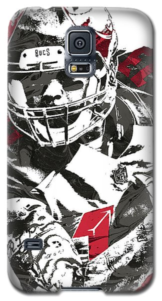 Galaxy S5 Case featuring the mixed media Mike Evans Tampa Bay Buccaneers Pixel Art by Joe Hamilton