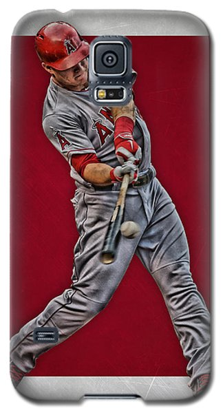 Galaxy S5 Case featuring the mixed media Mike Trout Los Angeles Angels Art 1 by Joe Hamilton