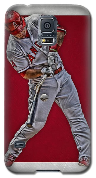 Galaxy S5 Case featuring the mixed media Mike Trout Los Angeles Angels Art 2 by Joe Hamilton