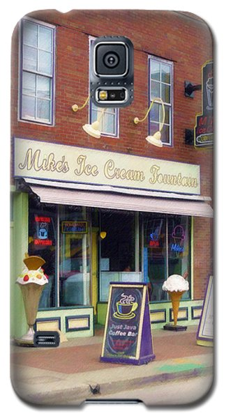 Galaxy S5 Case featuring the painting Mike's Ice Cream Fountain by Sandy MacGowan