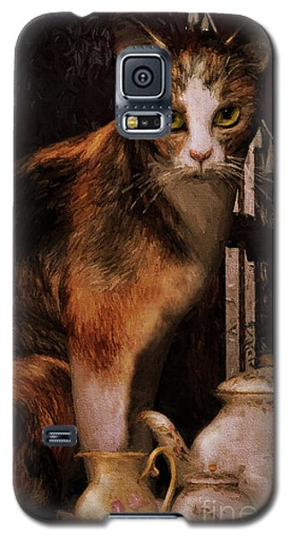 Galaxy S5 Case featuring the digital art Milk No Sugar Calico Cat by Shanina Conway