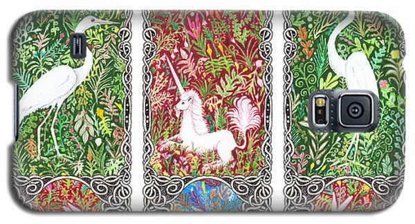 Millefleurs Triptych With Unicorn, Cranes, Rabbits And Dove Galaxy S5 Case