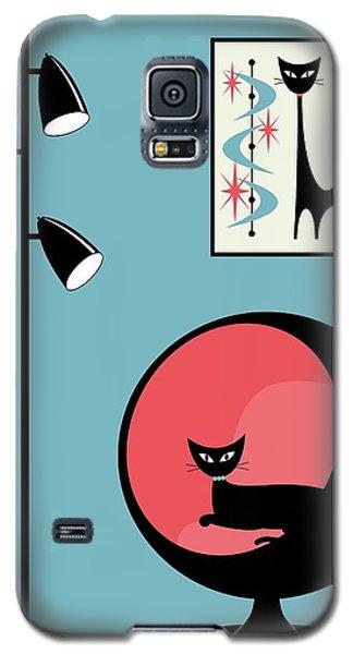 Mini Atomic Cat On Turquoise Galaxy S5 Case