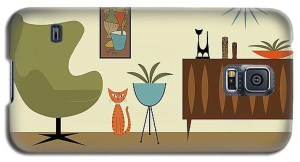 Mini Gravel Art With Orange Cat Galaxy S5 Case
