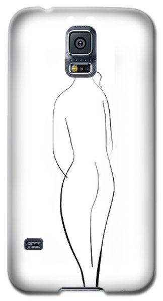 Galaxy S5 Case featuring the drawing Minimal Line Drawing Of A Nude Woman by Marianna Mills