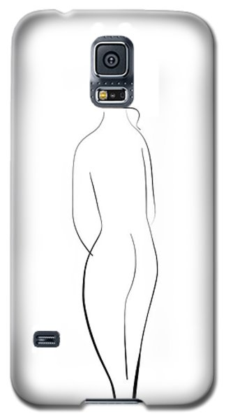 Minimal Line Drawing Of A Nude Woman Galaxy S5 Case