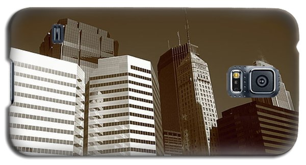 Galaxy S5 Case featuring the photograph Minneapolis Skyscrapers 5 Sepia by Frank Romeo