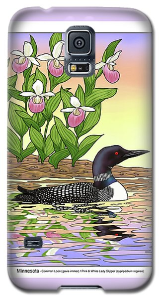 Minnesota State Bird Loon And Flower Ladyslipper Galaxy S5 Case by Crista Forest