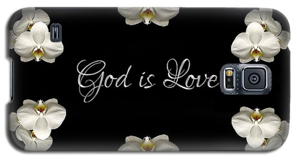 Galaxy S5 Case featuring the photograph Mirrored Orchids Framing God Is Love by Rose Santuci-Sofranko