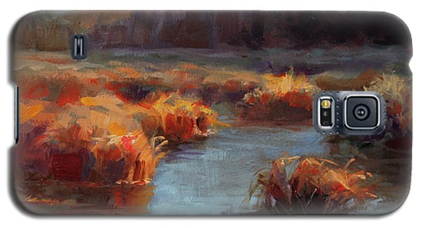 Galaxy S5 Case featuring the painting Misty Autumn Meadow With Creek And Grass - Landscape Painting From Alaska by Karen Whitworth