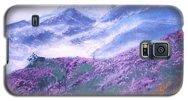 Galaxy S5 Case featuring the painting Misty Mountain Hop by Donna Dixon