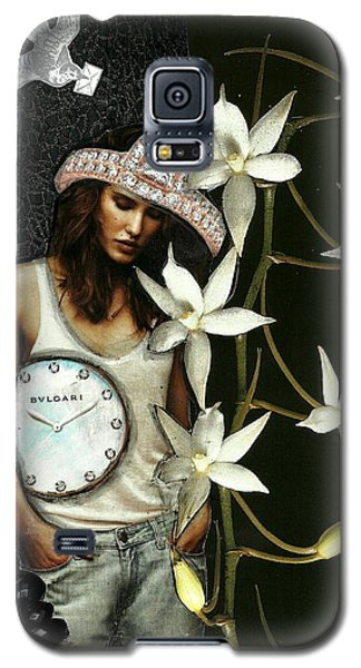 Galaxy S5 Case featuring the mixed media Mixed Media Collage Lost In Thought by Lisa Noneman