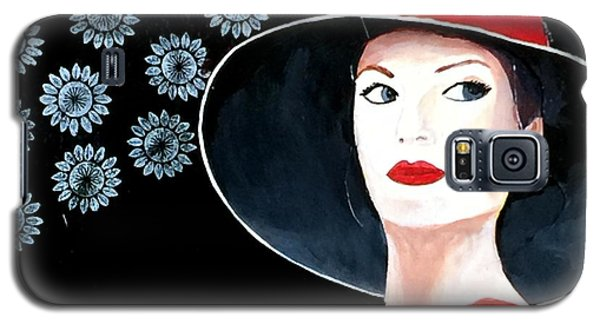 Mixed Media Painting Woman Red Hat Galaxy S5 Case