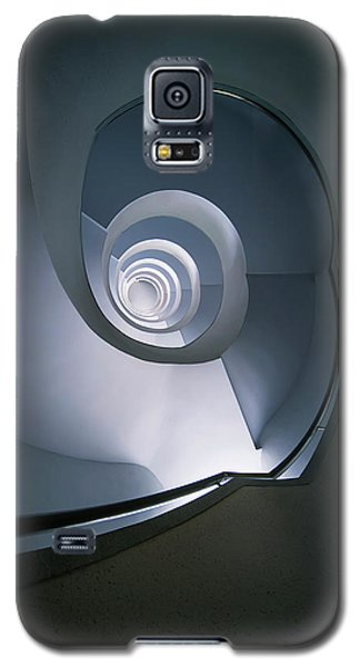 Galaxy S5 Case featuring the photograph Modern Blue Spiral Staircase by Jaroslaw Blaminsky