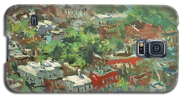 Galaxy S5 Case featuring the painting Modern Cityscape Painting Featuring Downtown Richmond Virginia by Robert Joyner