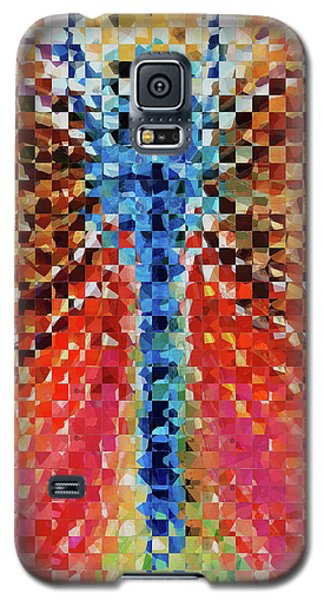 Galaxy S5 Case featuring the painting Modern Dragonfly Art - Pieces 6 - Sharon Cummings by Sharon Cummings