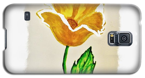 Galaxy S5 Case featuring the painting Modern Gold Flower by Marsha Heiken