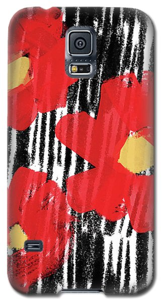Galaxy S5 Case featuring the mixed media Modern Red Flowers- Art By Linda Woods by Linda Woods
