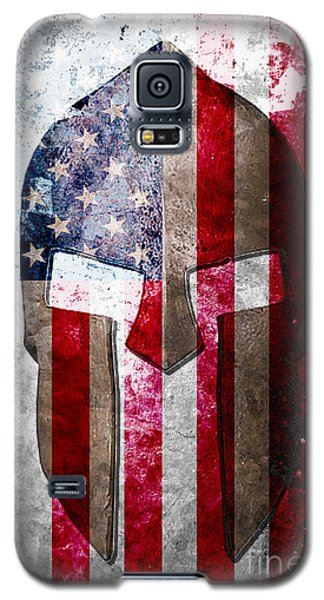 Molon Labe - Spartan Helmet Across An American Flag On Distressed Metal Sheet Galaxy S5 Case