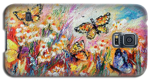 Galaxy S5 Case featuring the painting Monarch Butterflies And Chamomile Flowers by Ginette Callaway
