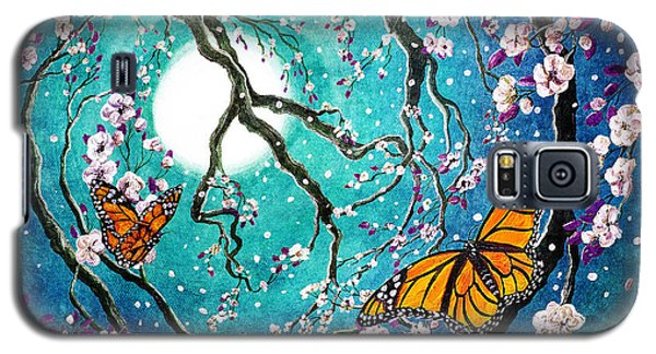 Monarch Butterflies In Teal Moonlight Galaxy S5 Case by Laura Iverson