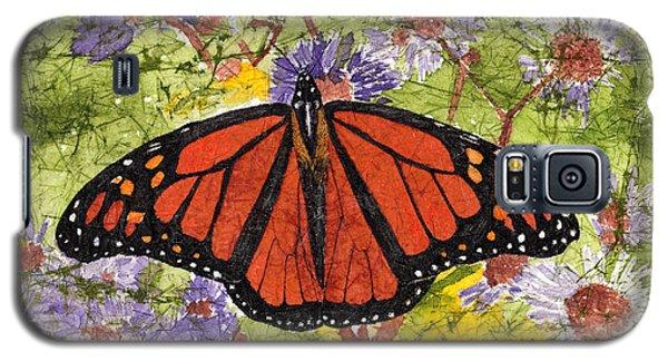 Monarch Butterfly On Purple Flowers Watercolor Batik Galaxy S5 Case