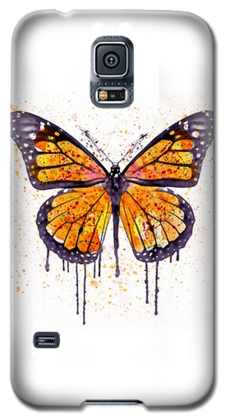 Butterfly Galaxy S5 Case - Monarch Butterfly Watercolor by Marian Voicu