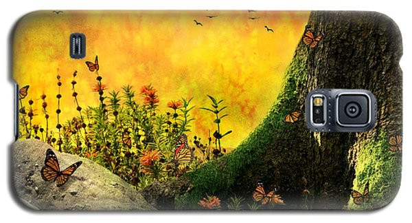 Monarch Meadow Galaxy S5 Case by Ally  White