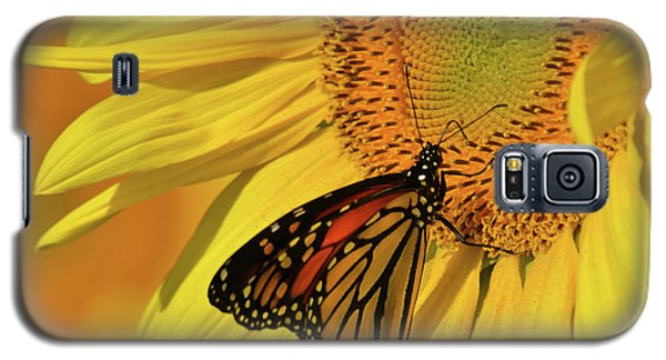 Galaxy S5 Case featuring the photograph Monarch On Sunflower by Ann Bridges