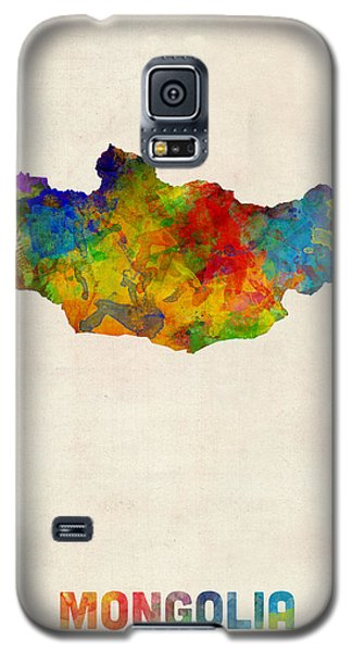 Galaxy S5 Case featuring the digital art Mongolia Watercolor Map by Michael Tompsett