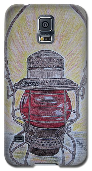 Galaxy S5 Case featuring the painting Monon Red Globe Railroad Lantern by Kathy Marrs Chandler
