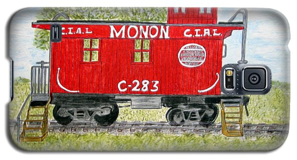 Galaxy S5 Case featuring the painting Monon Wood Caboose Train C 283 1950s by Kathy Marrs Chandler