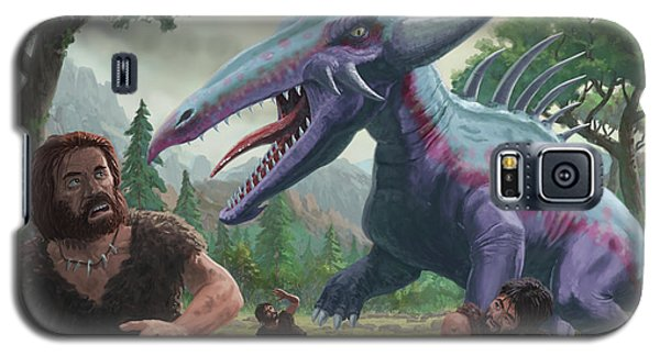 Galaxy S5 Case featuring the painting Monster Attacking Cavemen by Martin Davey
