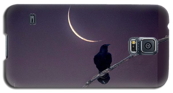 Galaxy S5 Case featuring the photograph Moon And Raven Abstract by Deborah Moen