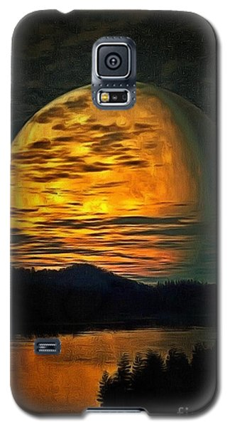 Galaxy S5 Case featuring the painting Moon In Ambiance by Catherine Lott