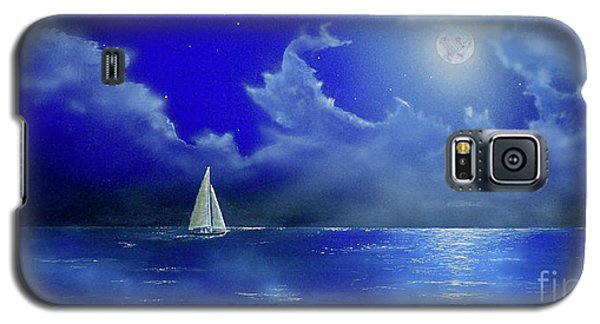 Galaxy S5 Case featuring the painting Moon Light Sail by Mary Scott