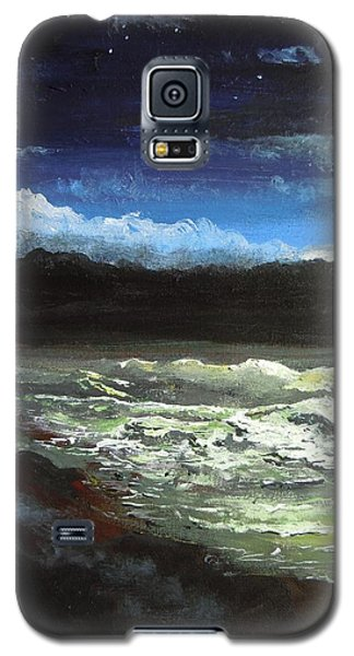 Galaxy S5 Case featuring the painting Moon Lit Sea by Dan Whittemore