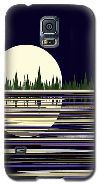 Galaxy S5 Case featuring the digital art Moon Lit Water by Val Arie