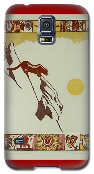 Galaxy S5 Case featuring the drawing Moon Of Red Chokecherries by Dawn Senior-Trask