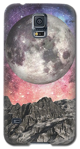 Galaxy S5 Case featuring the digital art Moon Over Mountain Lake by Phil Perkins
