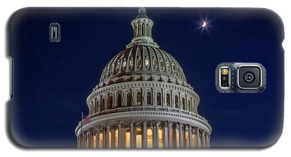 Moon Over The Washington Capitol Building Galaxy S5 Case