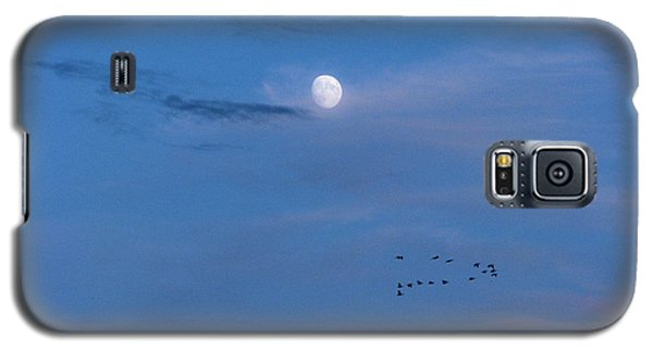 Moon Rises Geese Fly Galaxy S5 Case