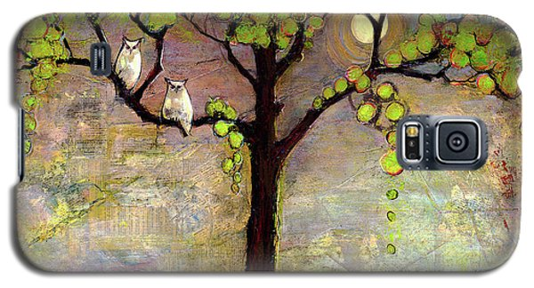 Moon River Tree Owls Art Galaxy S5 Case by Blenda Studio