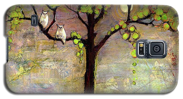 Wildlife Galaxy S5 Case - Moon River Tree Owls Art by Blenda Studio